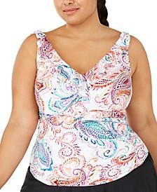 Plus Size Tummy Control Captiva Paisley Underwire Tankini Top