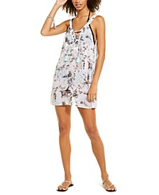 Juniors' Marble Printed Lace Up Chiffon Cover-Up Dress, Created For Macy's