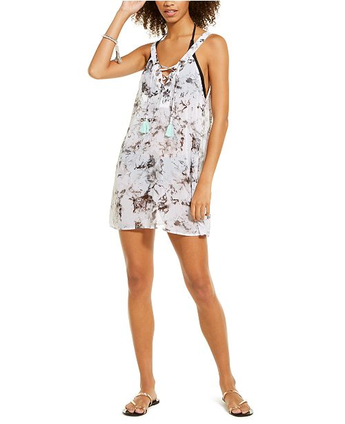 Miken Juniors' Marble Printed Lace Up Chiffon Cover-Up Dress, Created For Macy's