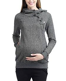 Zoe Asymmetrical Zip Maternity Hoodie