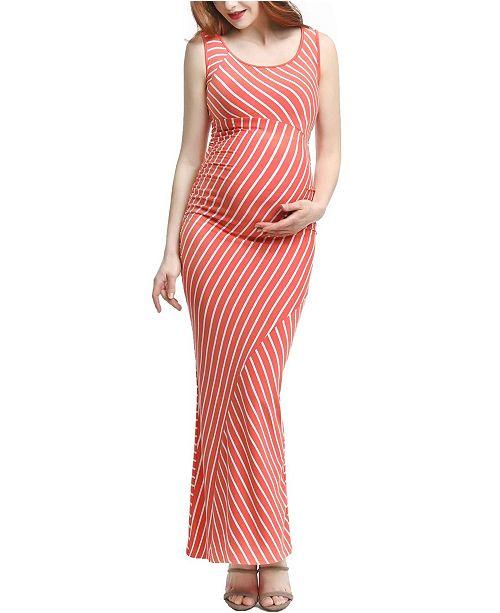 kimi + kai Peyton Maternity Striped Maxi Dress