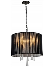 Modern, Comtemporary Elina 5-Light Crystal Chandelier with Threaded Silk Shade
