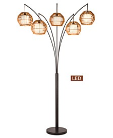 "Bali 88"" LED Arched Floor Lamp Handcrafted Rattan Shade, Bronze with Dimmer"