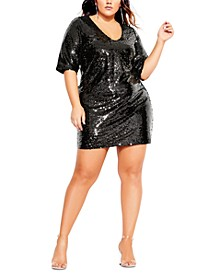 Trendy Plus Size Sequin Glow Dress