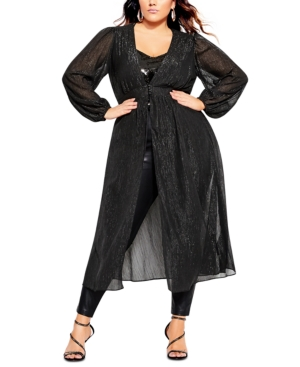 Trendy Plus Size Disco Fever Jacket In Black