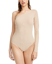 Juniors' One-Shoulder Rib-Knit Bodysuit
