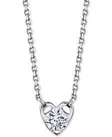 "Diamond Heart 18"" Pendant Necklace (1/5 ct. t.w.) in 14k White Gold"