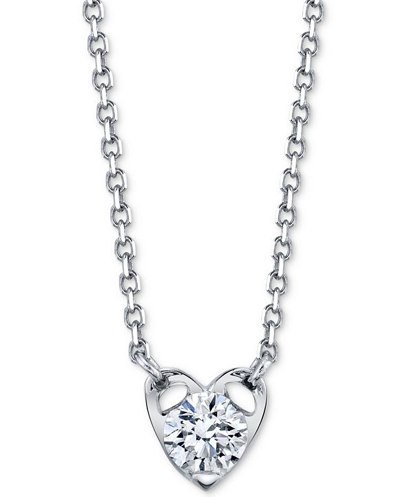 "Sirena Diamond Heart 18"" Pendant Necklace (1/5 ct. t.w.) in 14k White Gold"