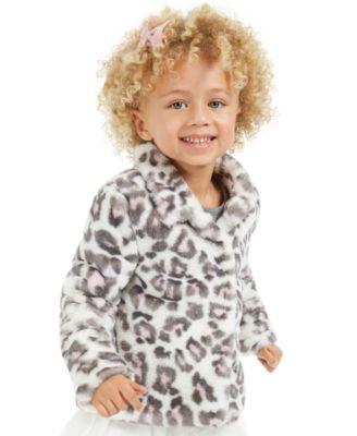 Little Girls Snow Leopard Faux-Fur Jacket, Created For Macy's