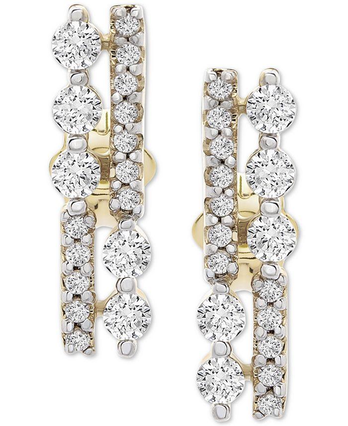 Wrapped - Diamond Bar Stud Earrings (1/3 ct. t.w.) in 14k Gold