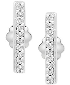 Diamond Bar Stud Earrings (1/10 ct. t.w.) in 14k White Gold, Created for Macy's