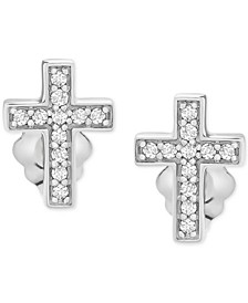Diamond Cross Stud Earrings (1/10 ct. t.w.) in 14k White Gold, Created for Macy's