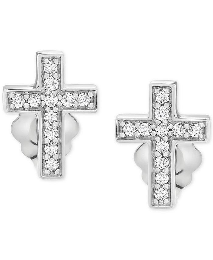 Wrapped - Diamond Cross Stud Earrings (1/10 ct. t.w.) in 14k White Gold