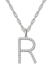 """Diamond Initial 18"""" Pendant Necklace (1/6 to 1/3 ct. t.w.) in 14k White Gold"""