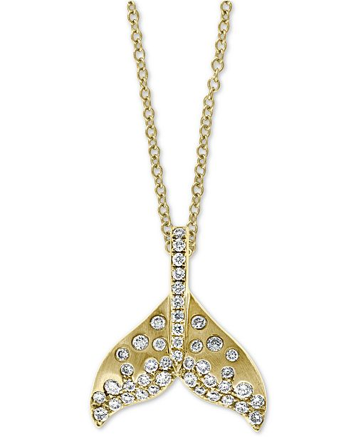 """EFFY Collection EFFY® Diamond Whale Tale 18"""" Pendant Necklace (3/8 ct. t.w.) in 14k Gold"""