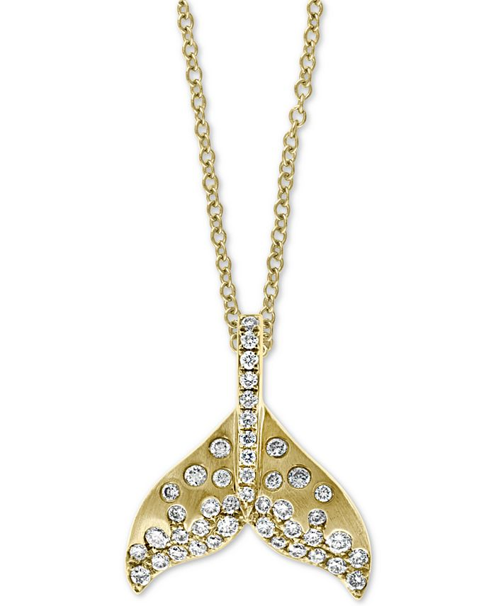 "EFFY Collection - Diamond Whale Tale 18"" Pendant Necklace (3/8 ct. t.w.) in 14k Gold"