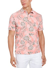 Men's Classic-Fit Stretch Tropical Palm Print Polo Shirt