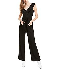 Ruffled Glitter Straight-Leg Jumpsuit