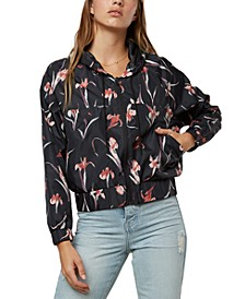 Juniors' Rainfall Hooded Floral-Print Jacket