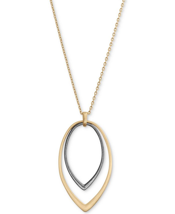"""Lucky Brand - Two-Tone Double-Teardrop Pendant Necklace, 30"""" + 2"""" extender"""