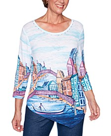 Road Trip Embellished Asymmetrical Scenic-Print Top