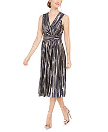 Surplice Metallic Midi Dress