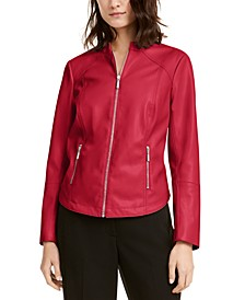 Petite Faux-Leather Jacket, Created For Macy's