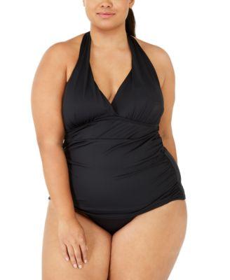 Plus Size Island Goddess Solid Halter Tankini Top