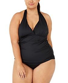 Plus Size Island Goddess Solid Halter Tankini Top & High-Waist Bottoms