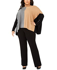Plus Size Turtleneck Colorblock Poncho Sweater, Created for Macy's