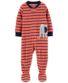 Baby Boys Elephant Fleece Footed Pajamas