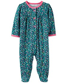 Baby Girls Cotton Floral-Print Footed Coverall