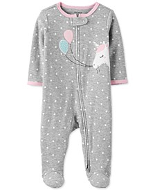 Baby Girls Cotton Unicorn Footed Coverall