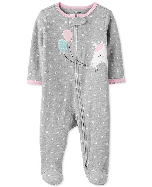 Carter's Baby Girls Cotton Unicorn Footed Coverall