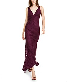 Juniors' Glitter Lace Plunge Gown
