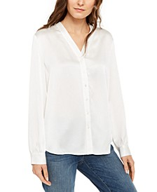 Silk V-Neck Shirt, Regular & Petite