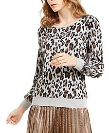 Metallic Animal-Print Sweater, Created For Macy's
