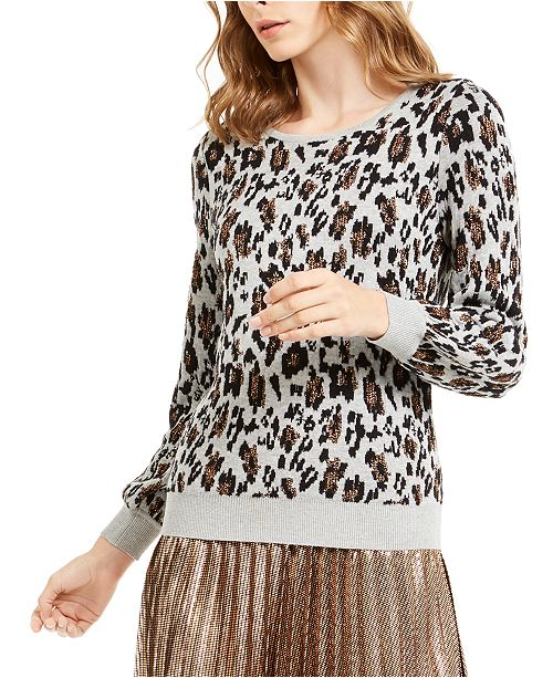 Alfani Metallic Animal-Print Sweater, Created For Macy's