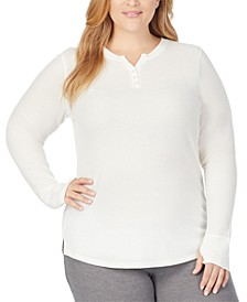 Plus Size Stretch Thermal Long-Sleeve Henley Top