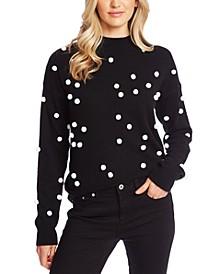 Mock-Neck Polka-Dot-Applique Sweater