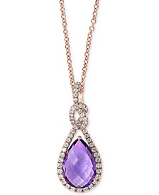 "EFFY® Amethyst (2-1/2 ct. t.w.) & Diamond (1/4 ct t.w.) 18"" Pendant Necklace in 14k Rose Gold"