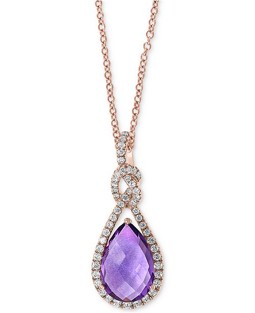 """EFFY Collection EFFY® Amethyst (2-1/2 ct. t.w.) & Diamond (1/4 ct t.w.) 18"""" Pendant Necklace in 14k Rose Gold"""