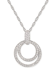 "Cubic Zirconia Double Circle 18"" Pendant Necklace in Sterling Silver"