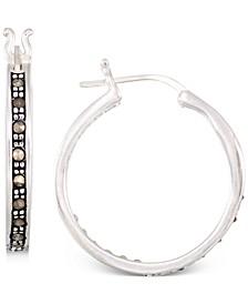 """Marcasite & Crystal Small Hoop Earrings in Sterling Silver, 0.8"""""""