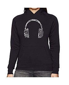 Women's Word Art Hooded Sweatshirt -Headphones - Languages