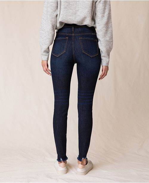 Kancan High Rise Ankle Skinny Distressed Hem Jeans