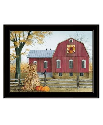 Autumn Leaf Quilt Block Barn by Billy Jacobs, Ready to hang Framed Print, Black Frame, 38
