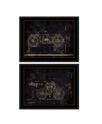 "Motor Bike Patent I II 2-Piece Vignette by Cloverfield Co, Black Frame, 15"" x 19"""