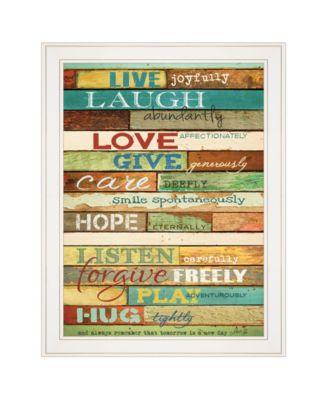 "Live Joyfully by Marla Rae, Ready to hang Framed print, White Frame, 21"" x 27"""