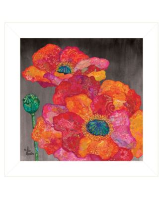 """Blooms on Black II by Lisa Morales, Ready to hang Framed Print, White Frame, 15"""" x 15"""""""